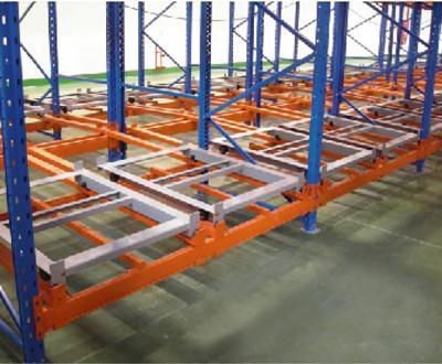 Push back warehouse shelf