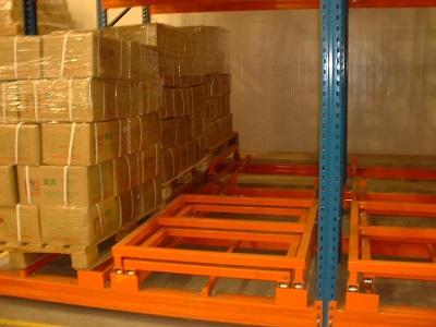 Warehouse push back shelf